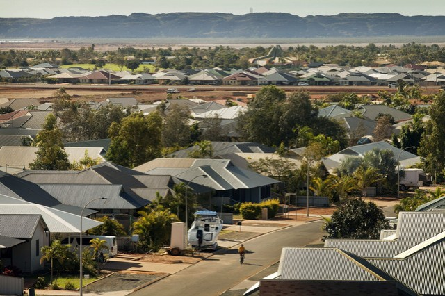 Homes stand in the town of Karratha in the Pilbara region of Western Australia